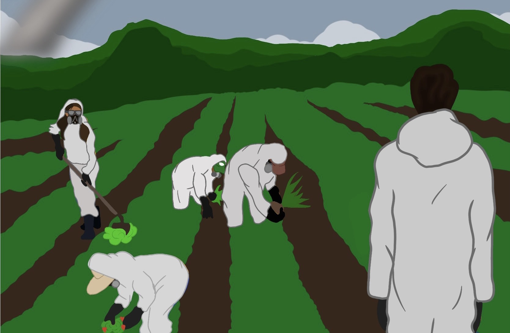 Farmworkers and their children with Christmas presents