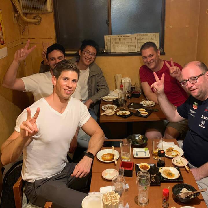 Robbie Crabtree drinking with friends