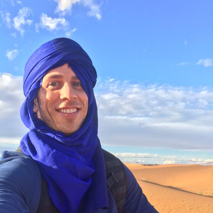 Robbie Crabtree wearing a blue scarf