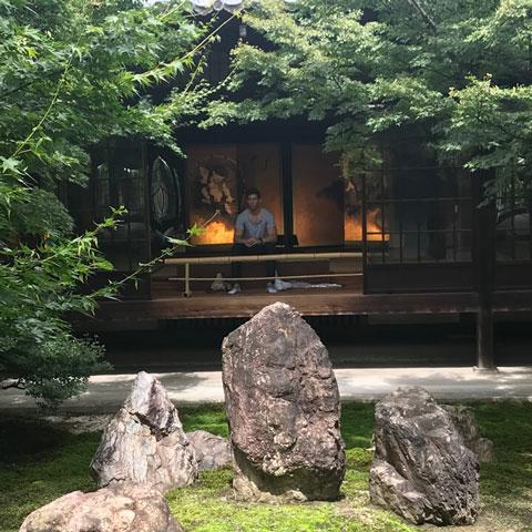 Robbie Crabtree in a zen garden