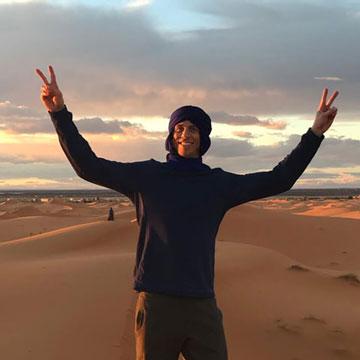 Robbie Crabtree in Moroccan desert