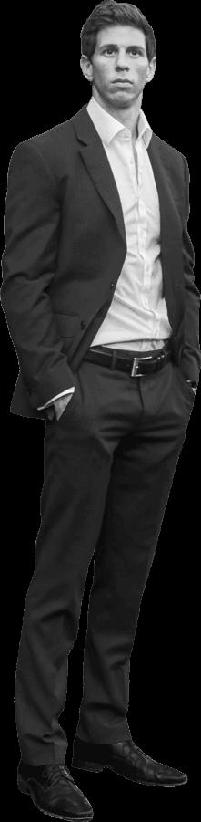 Robbie Crabtree standing black and white pic