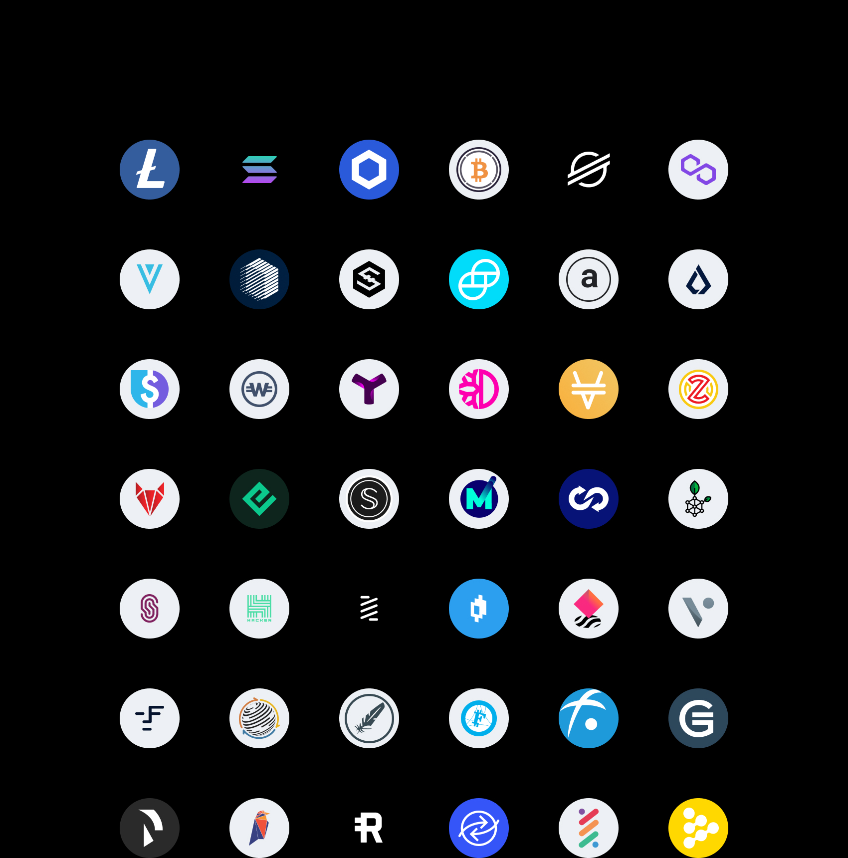 Litecoin (LTC), Solana (SOL), Chainlink (LNK), Wrapped Bitcoin (WBTC), Stellar (XLM), Polygon (MAtic), Verge (XVG), Ren (REN), IOST, Gemini Dollar (GUSD), Arweave (AR), List (LSK), Liquide USD (LUSD), WhiteCoin (XWC), Symbol (XYM), DeFiChain (DFI), Venus BNB (vBNB), Zelwin (ZLW), RedFOX Labs (RFOX), Energi (NRG), Secret (SCRT), MXC (MXC), TrustSwap (SWAP), RSK Smart Bitcoin (RBTC), Snyft Network (SHFT), Hacken Token (HAI), Bounce Token (AUCTION), Mirrored Apple (mAAPL), NFTX (NFTX), BLOCKv (VEE), Faceter (Face), Factom (FCT), Feathercoin (Ftc), Fujicoin (Fjc), Gamecredits (Game), Raiden Network Token (RDN), Ravecoin (Rvn), Reserve (Rev), Ripio Credit Network (Rcn), Rise (Rise), Ric (Ric)