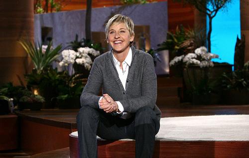Ellen Degeneres on set and smiling