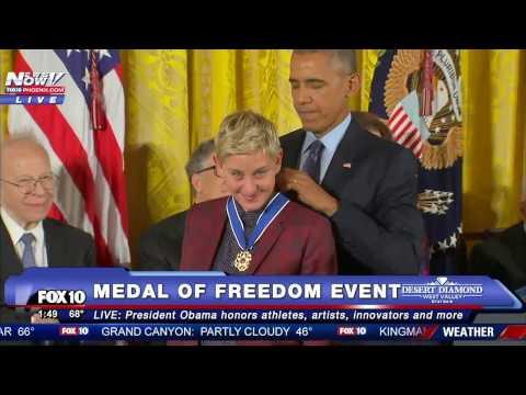 Ellen Degeneres receiving the medal of freedom from President Obama