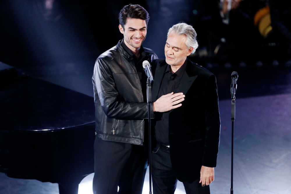 Andrea Bocelli on stage with his son Matteo