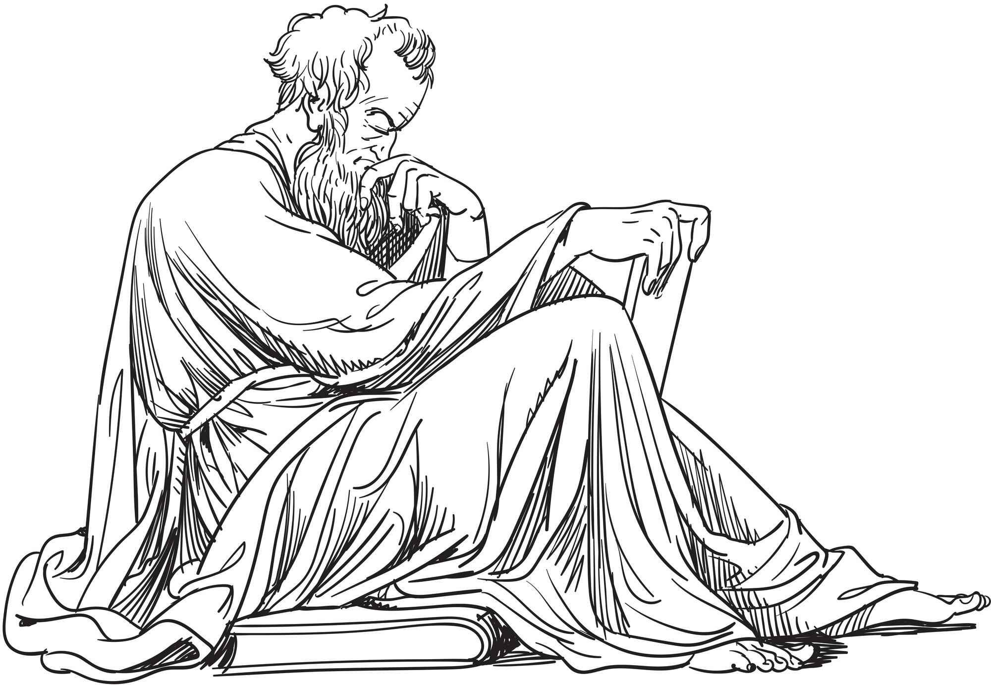 A sketch image of Greek philosopher Epictetus