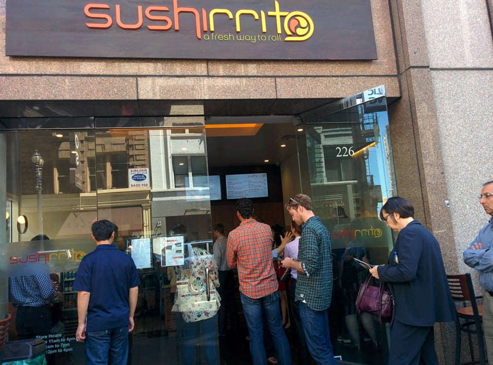 A line to get into Sushiritto