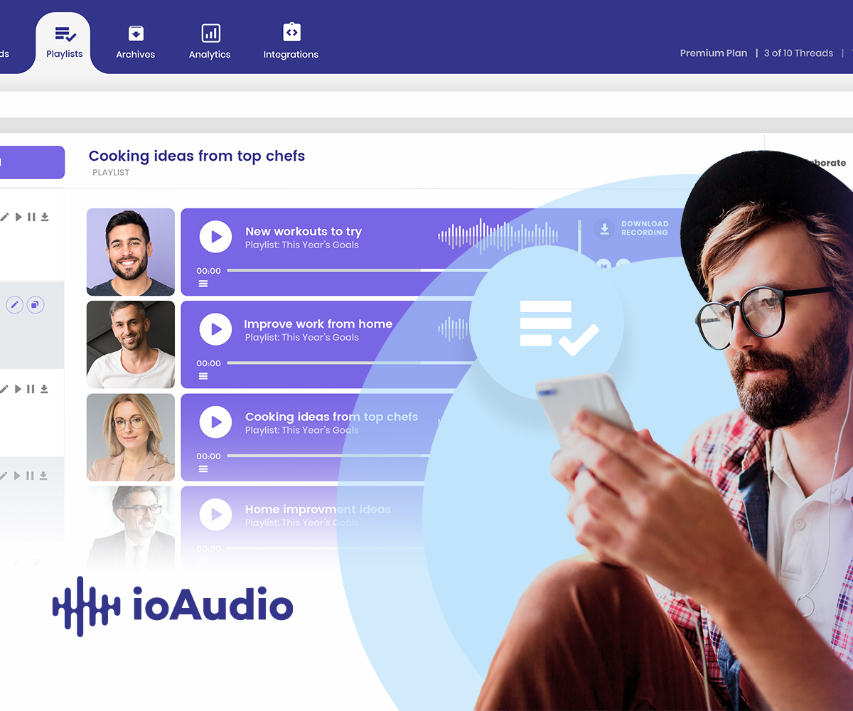 ioAudio's online text to speech app has a create and share playlists feature