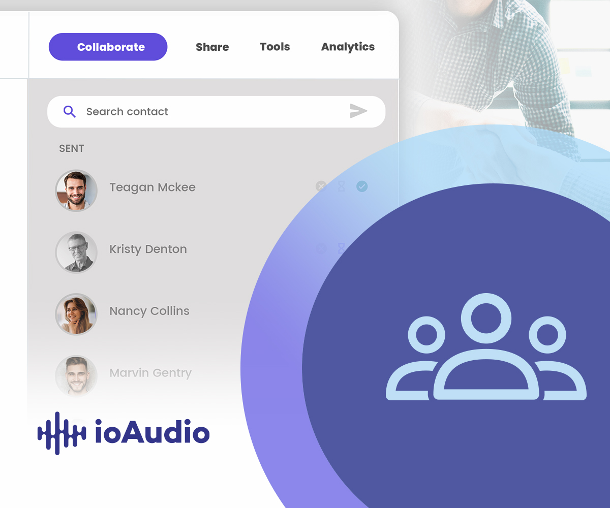 ioAudio's online text to speech app has features for collaborating and sharing audio recordings