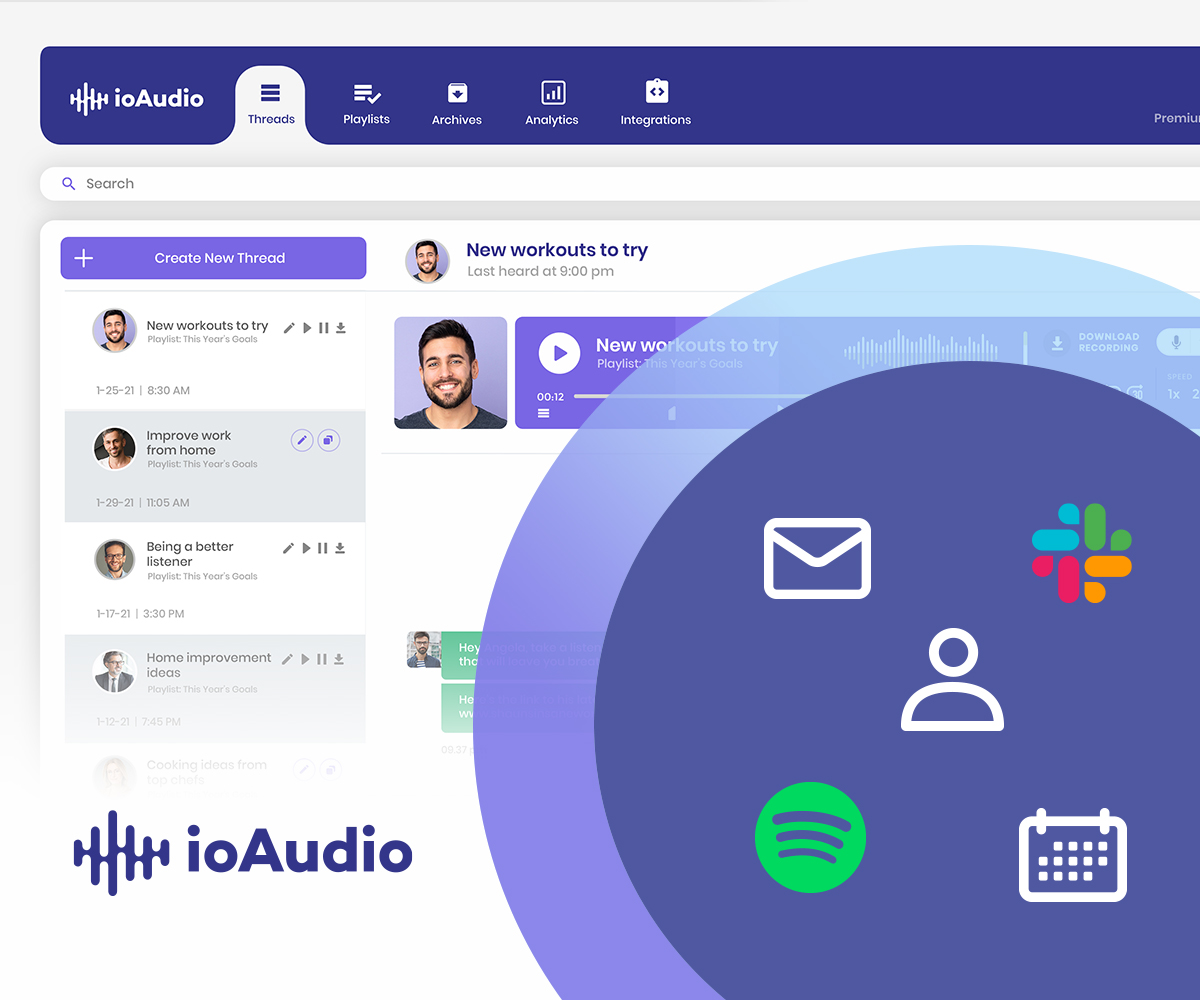 ioAudio's online text to speech app integrates to email, calendars, contacts, Slack, and Spotify
