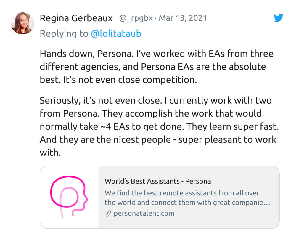 Tweet from Regina Gerbeaux of On Deck about Persona