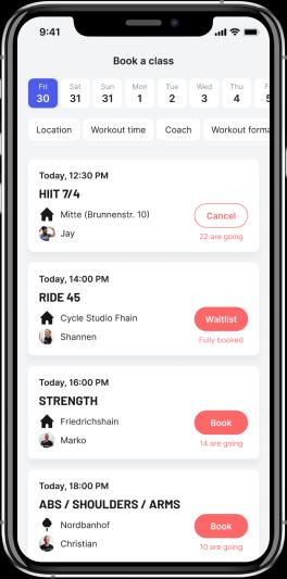 BEAT81 app book a classs