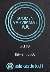 Tunuskuvake: Suomen vahvimmat AA 2019 TEH-Yhtiöt Oy, asiakastieto.fi