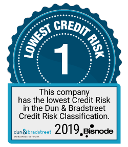 Tunnuskuvake: Lowest credit risk 1. This company has the lowest Credit Risk in the Dun & Bradstreet Credit Risk Classification. 2019 Bisnode.