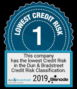 Tunnuskuvake: Lowest credit risk 1. This company has the lowest Credit Risk in the Dun & Bradstreet Credit Risk Classification. 2019 Bisnode.