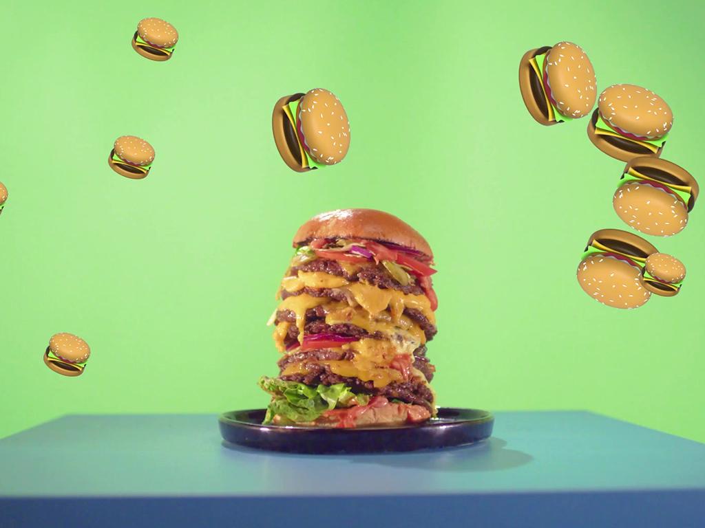 Hamburger fliegen durchs Bild