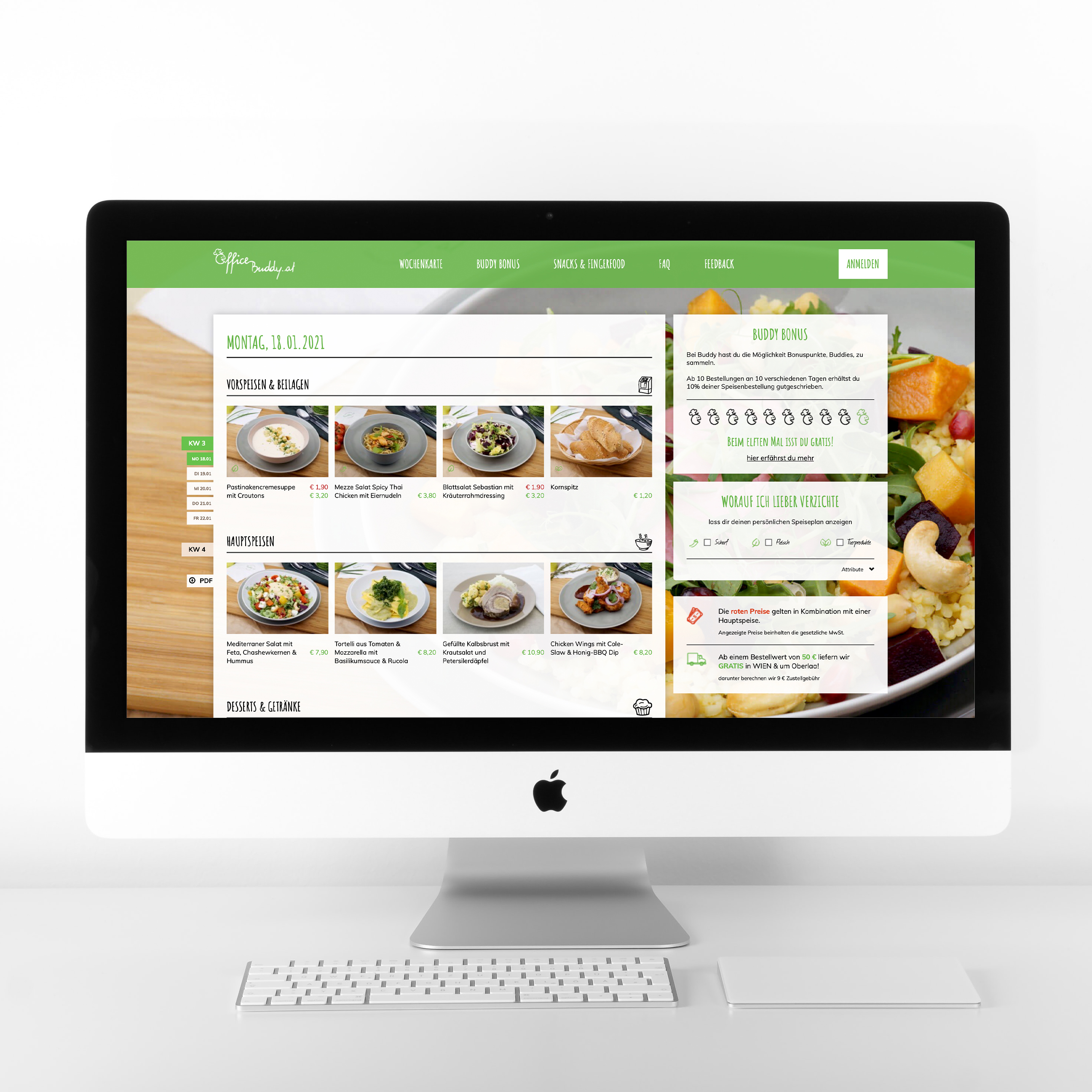 Buddy Online Catering Homepage Online Shop