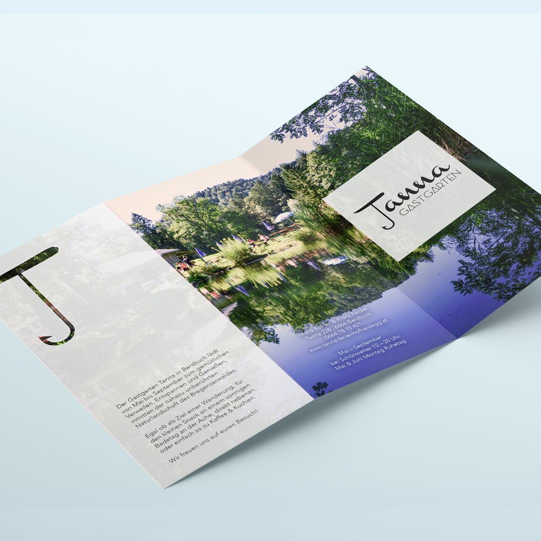 Gastgarten Tanna Bersbuch Bregenzerwald Logodesign Flyer Folder