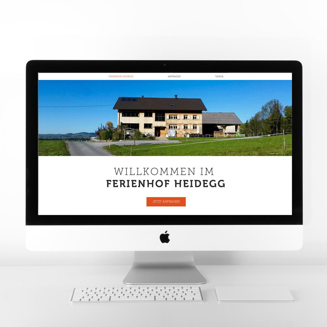 Ferienhof auf der Heidegg Andelsbuch Bregenzerwald Webdesign Homepage Startseite