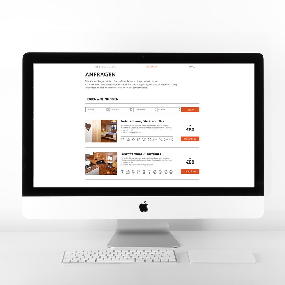 Ferienhof auf der Heidegg Andelsbuch Bregenzerwald Webdesign Homepage Buchung