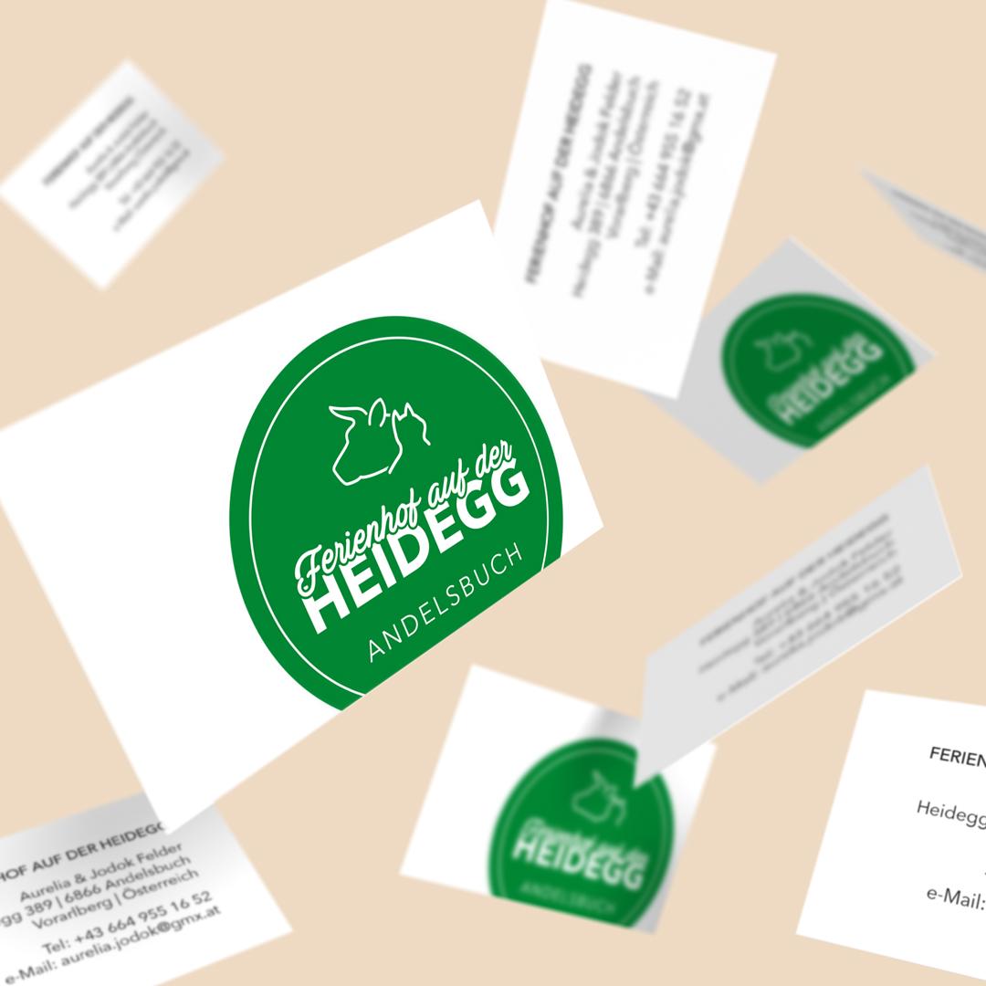 Ferienhof auf der Heidegg Andelsbuch Bregenzerwald Logodesign Visitenkarten