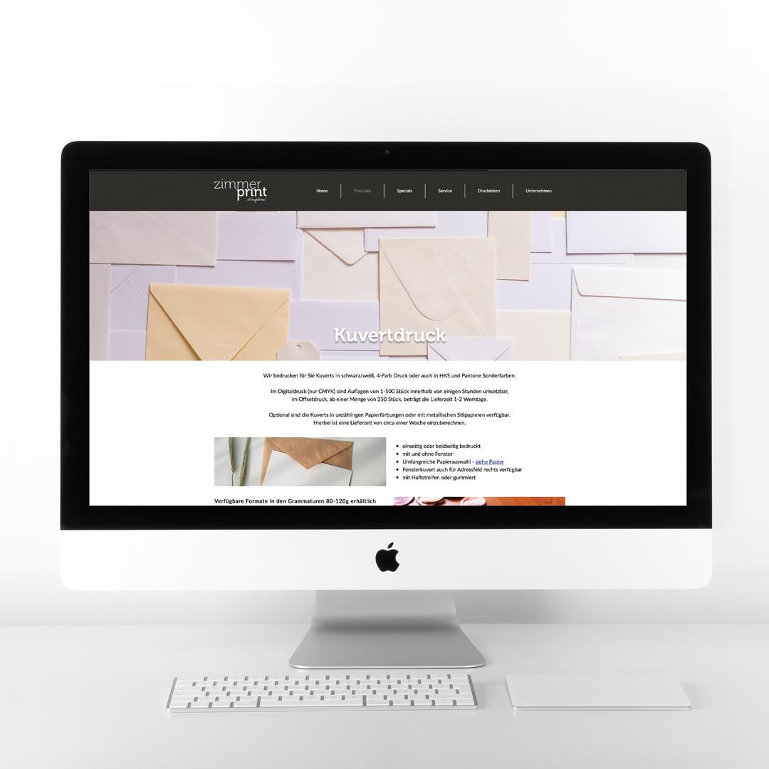 Zimmerprint Wien Homepage Webdesign Unterseite Kuvertdruck Ottakring