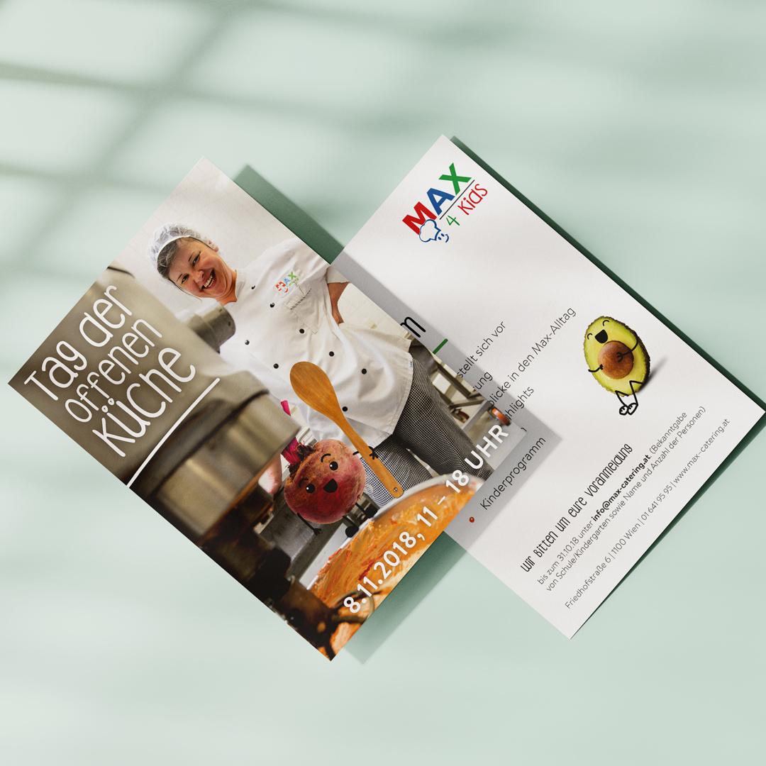MAX4Kids Schulcatering Rebranding Gemuesemaxl tag der offenen kueche flyer