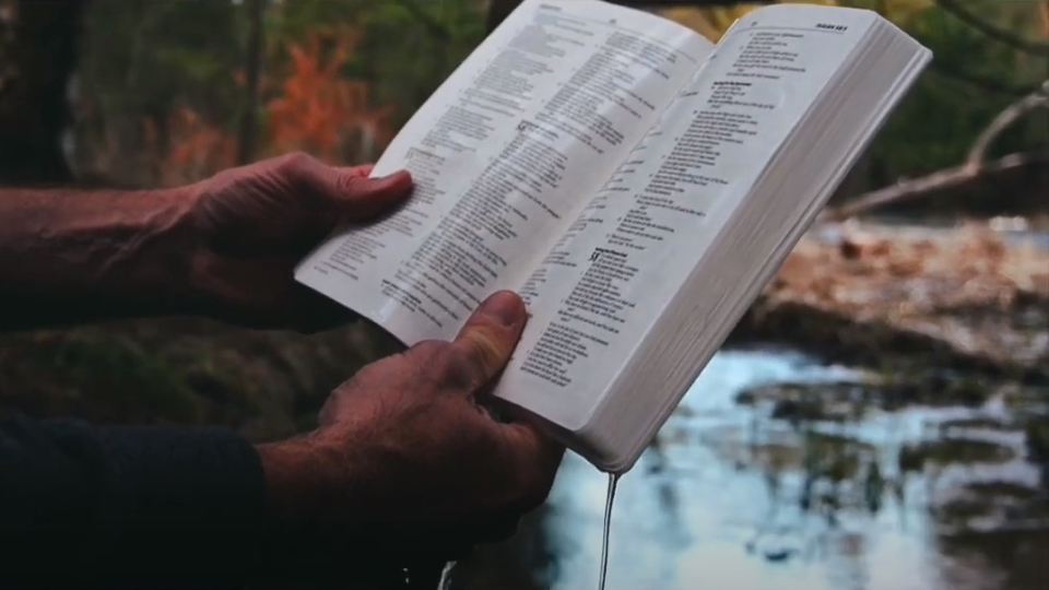 hands holding an open bible outdoors by a river