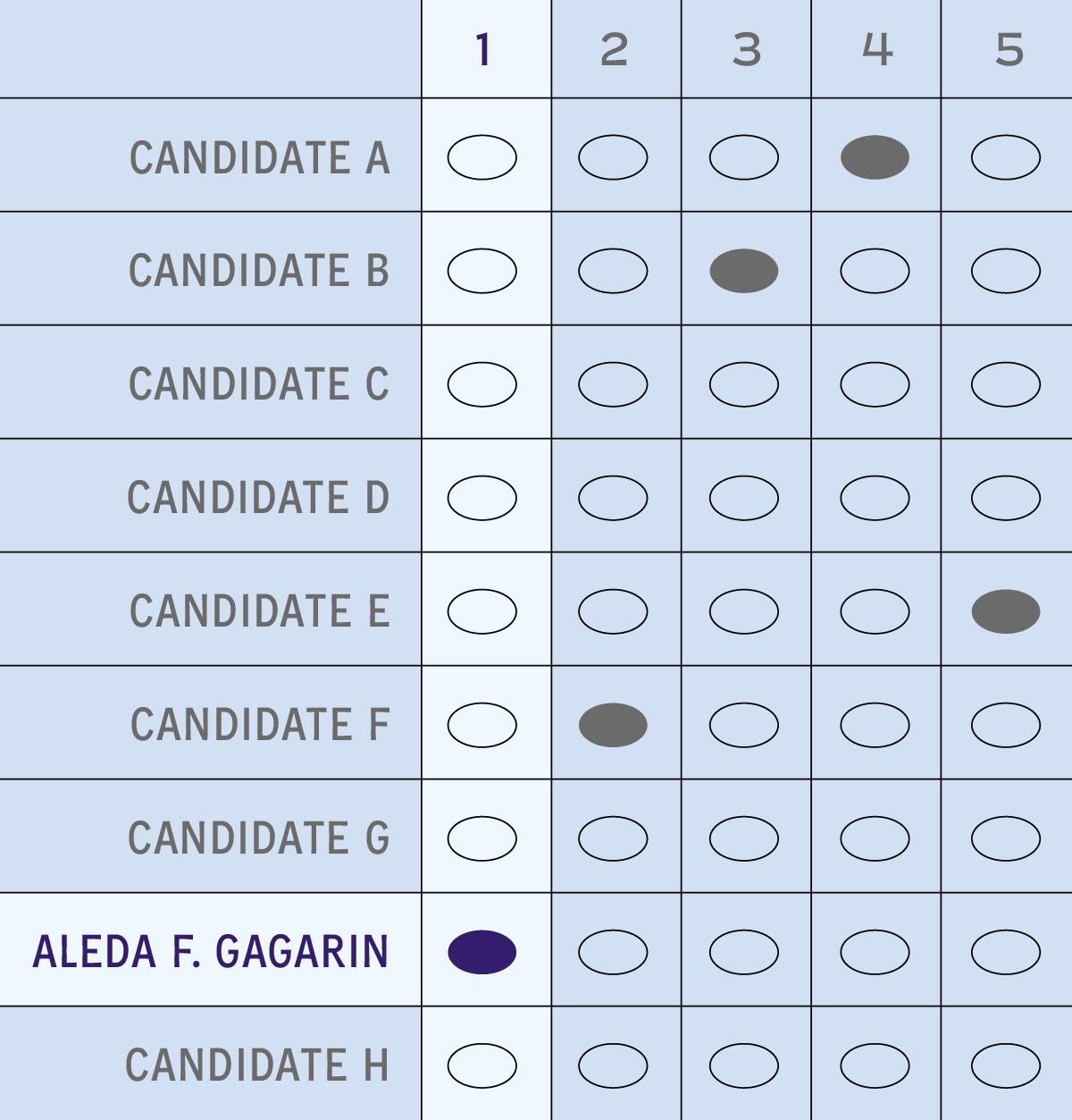 A correctly marked ballot