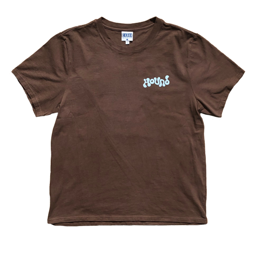 Each tee is hand-dyed in a chocolate brown with a carolina blue puff print on the left pocket and back.