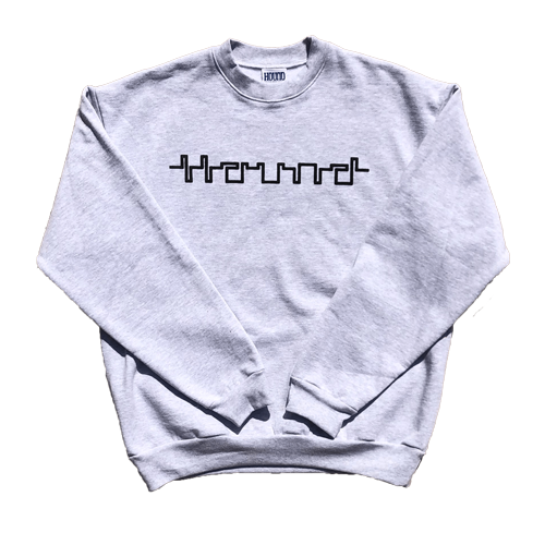 This 14 ounce crewneck comes in ash gray with Hound printed across the chest in Puff Print and a 6-color oversized back print. 100% USA cotton. Sewn and printed in Los Angeles, California. Cyberfont and Martian font included with purchase.