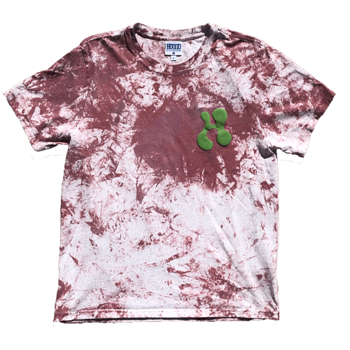Each tee is hand-painted using excess paint from client print jobs. As a result, your tee will be painted with whatever paints are used that week at random. on top the paint, a Matcha Green puff print on left pocket and lower right back. All one of one.