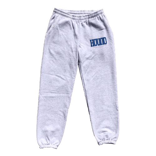 OUR 14 OZ. sweatpants Comes in ash Gray with Hound Blue Puff Prints on the left front pocket and back right pocket. 100% USA COTTON. SEWN AND PRINTED IN LOS ANGELES, CA.