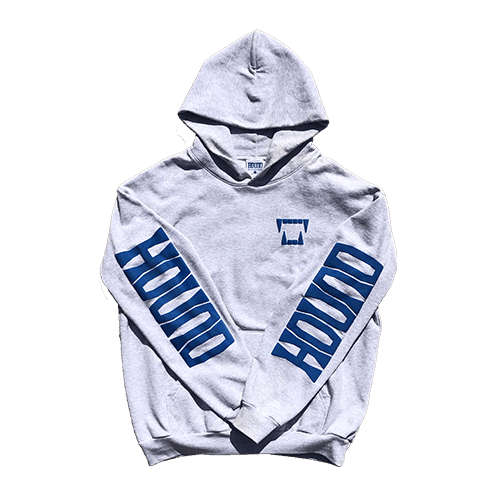 OUR 14 OZ. hoodie Comes in Ash Gray with Hound Blue Puff Prints on the left chest, back and sleeves. 100% USA COTTON. SEWN AND PRINTED IN LOS ANGELES, CA.