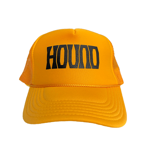 This trucker pays homage to the killer instinct of the Black Mamba and the relentless pursuit of perfection. A gold trucker with the Hound logo in black.
