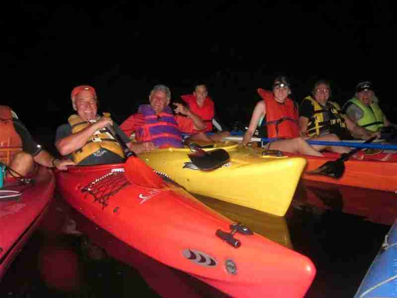 Happy and excited kayakers during their magical experience of the bioluminescence.