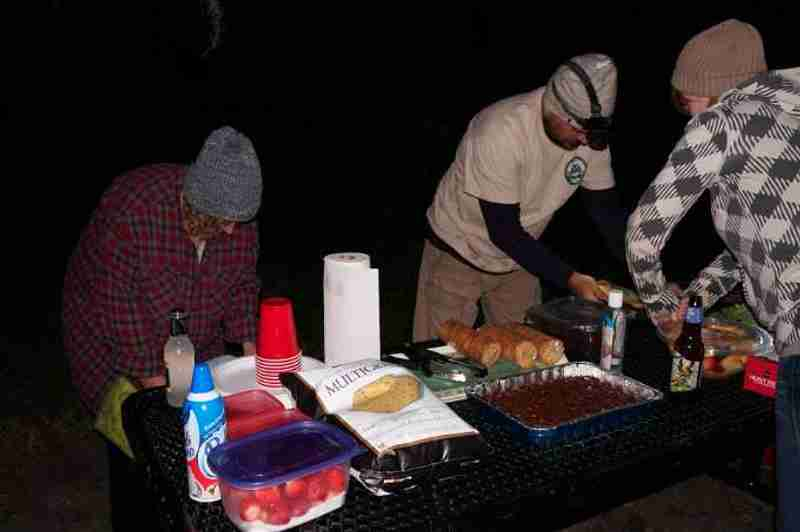 A light snack provided on our own island under full moon lighting.