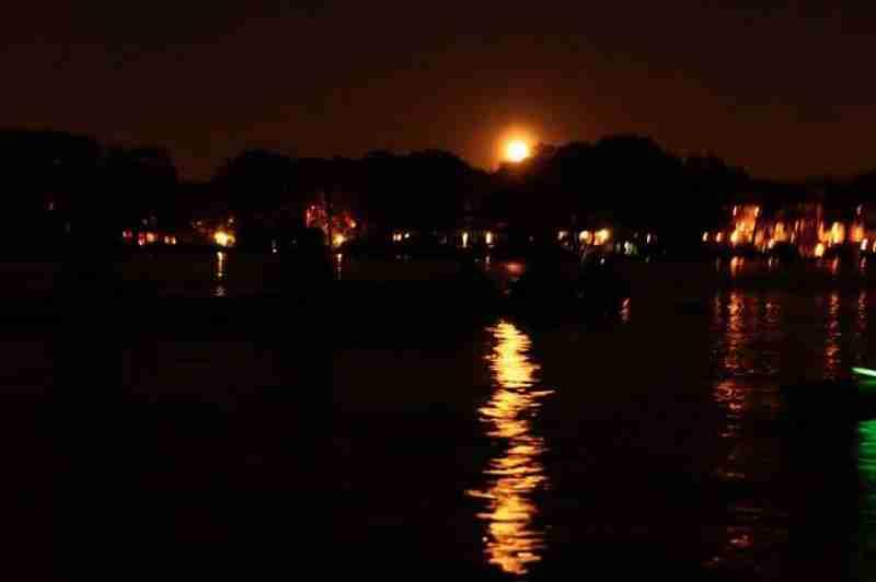 The full moon lighting up the lake.