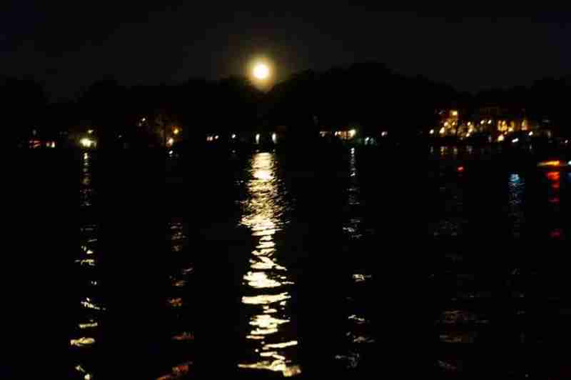 Winter Park Chain of Lakes lit up by the full moon.
