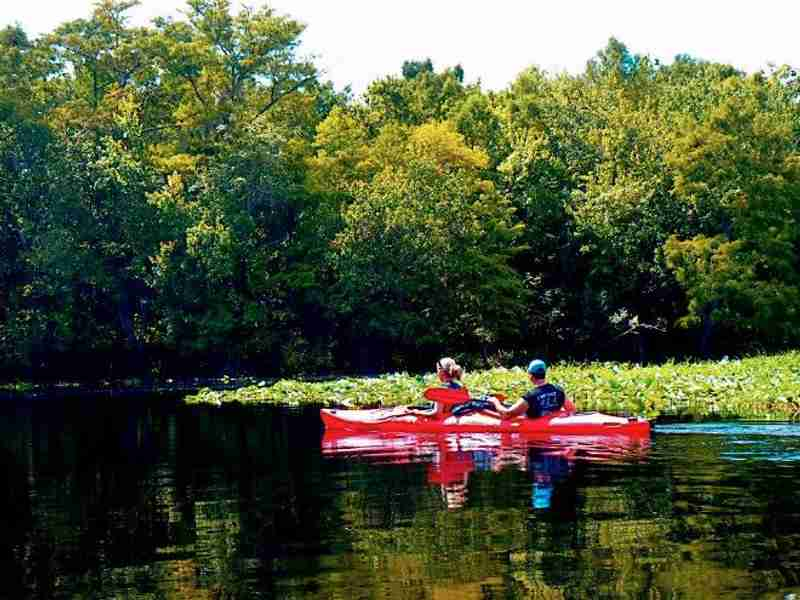Kayakers enjoying the beautiful scenery.