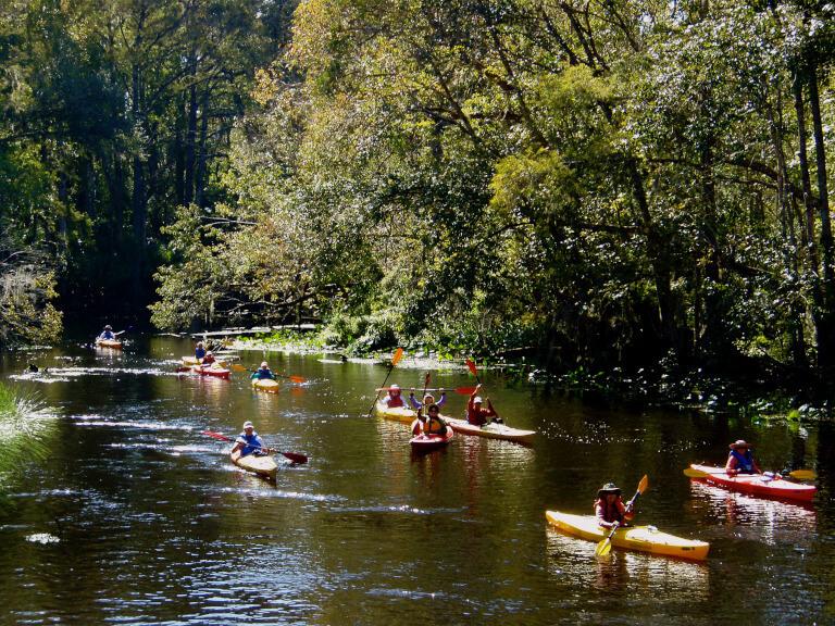 Having fun kayaking along the Ocklawaha.