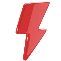 Icon of a red lightning bolt.