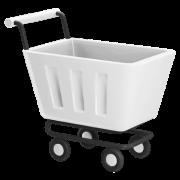Icon of a shopping cart white.