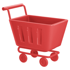 Icon of a shopping cart red.