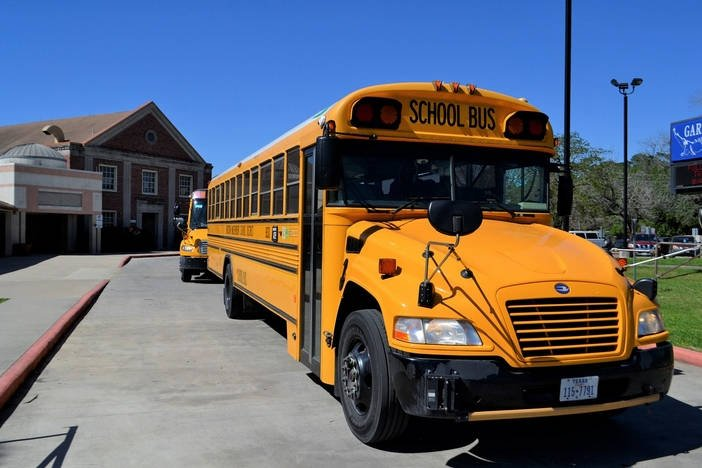 yellow school buses in a line outside of a school.