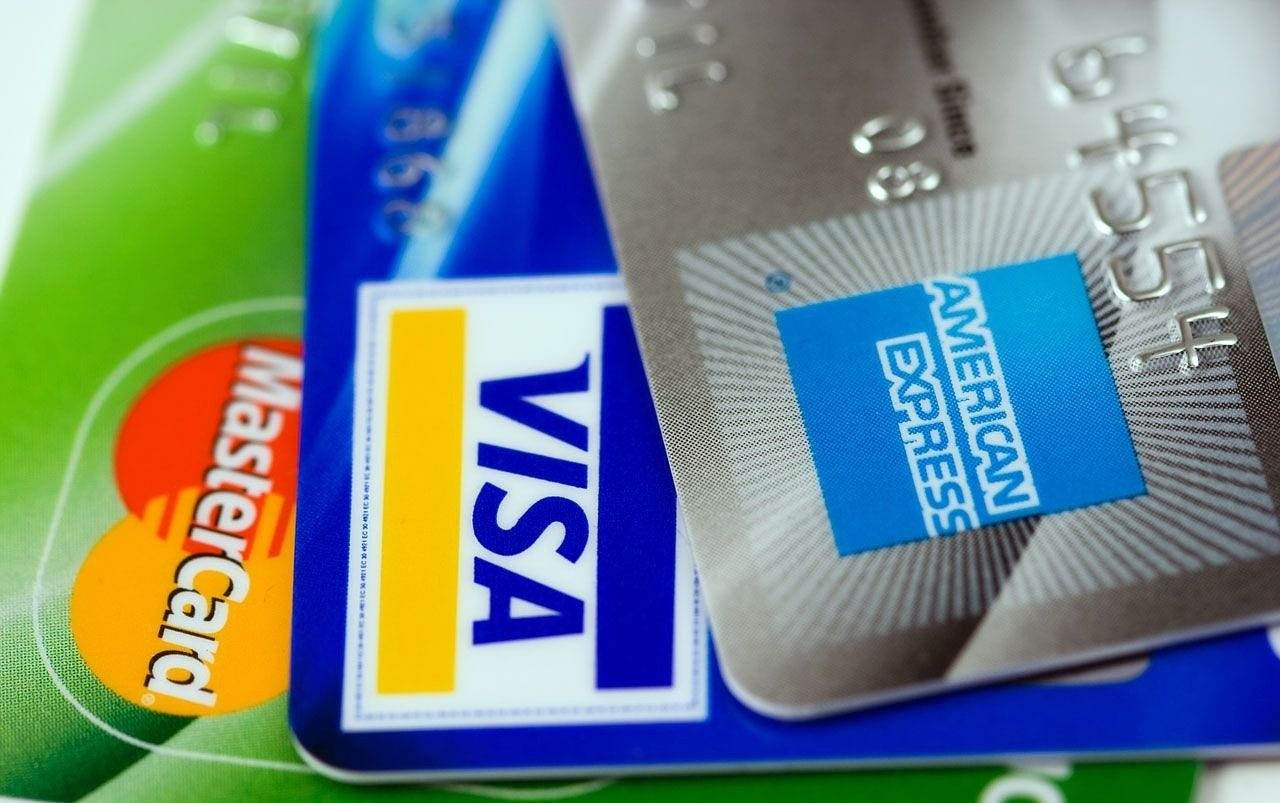 photograph of multiple credit cards of different types