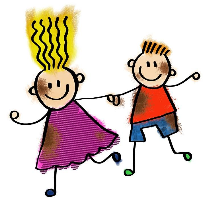cartoon children running and holding hands