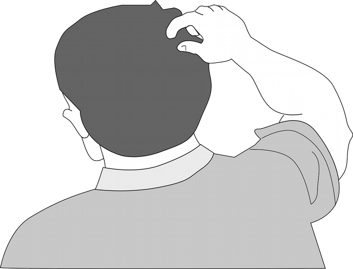 graphic black and white drawing of a man scratching his head