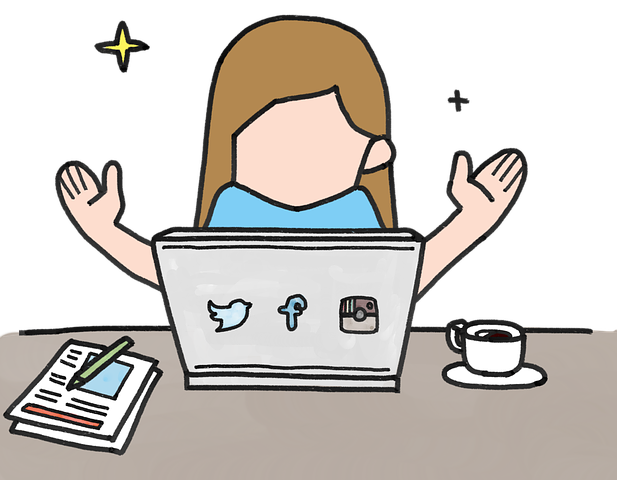 cartoon graphic of a happy woman using a laptop
